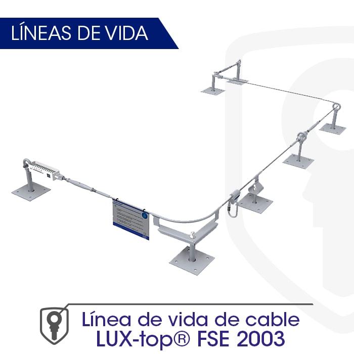 Línea de vida de cable LUX-top FSE 2003 - LUXTOP Sistemas Anticaídas, Calle Talabarteros, Herencia, España