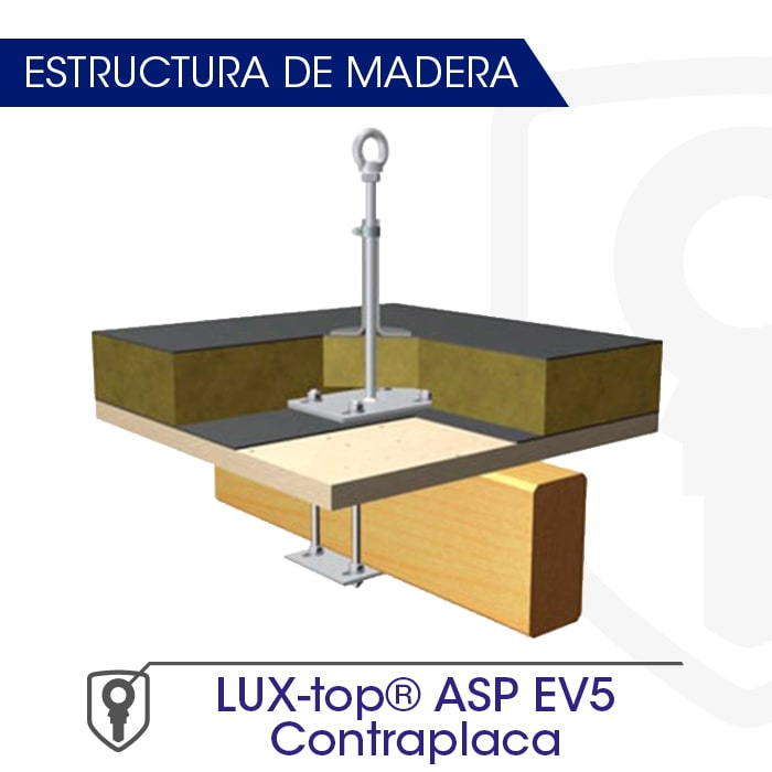 LUX-top ASP EV5 Contraplaca estructura de madera - LUXTOP Sistemas Anticaídas, Calle Talabarteros, Herencia, España